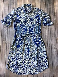 Cabi-Tunic-Shirt-Dress-S-4-6-Button-Down-Blue-Jewel-Geo-Geometric-Print-422