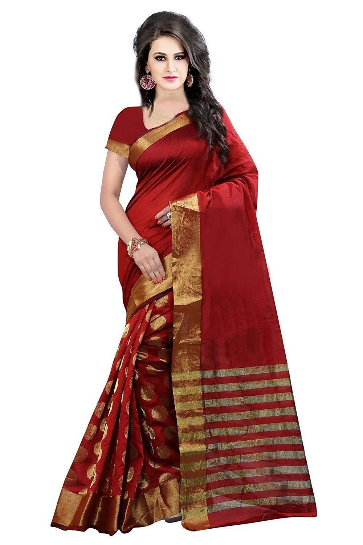 Red Cotton Silk Saree Indian Ethnic Sari 66