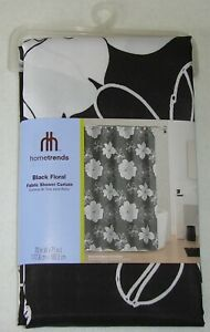 New-Hometrends-Black-amp-White-Floral-Fabric-Shower-Curtain-70-034-Wide-X-71-034-Long