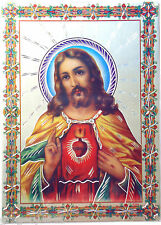MAGNIFIQUE CADRE ICONE COEUR  JESUS PLAQUAGE ALLU DIM 29 X 21CM BENIT A LOURDES