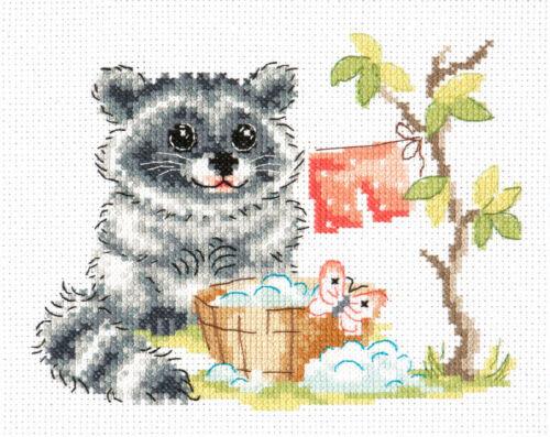 19-24 Cross Stitch Kit Raccoon art