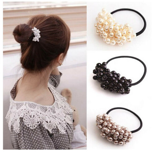 Hair Accessories Pearl Elastic Rubber Bands For Women Girl Ponytail Holder NJ