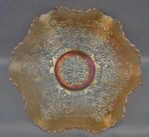 Fenton-LEAF-CHAIN-Silvery-Marigold-Carnival-Glass-9-034-Ruffled-Bowl-5891