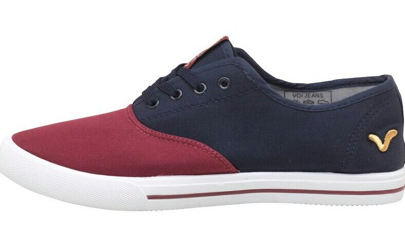 VOI JEANS CANVAS - PUMPS TRAINERS Bushnell Shoes Navy Burgundy - CANVAS RRP !!! 6016d5