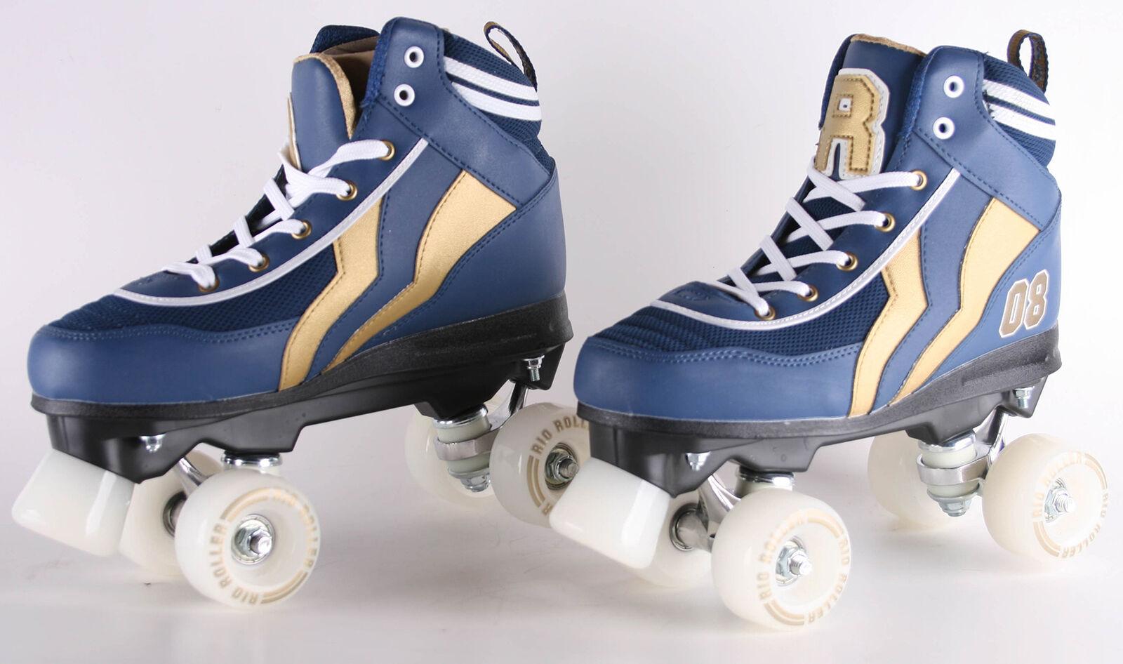 Rio Roller Roller Roller Varsity Rollschuhe mit 4 Rollen blau Goldfarben Größe  EU 38 b342fa