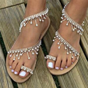 New-Summer-Women-Sandals-Flat-Sandal-Shoes-Pearl-Bead-Rope-Flip-Flops-Fashion