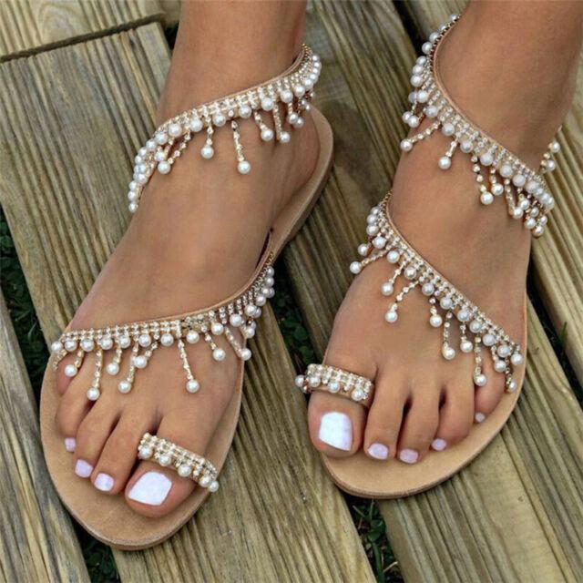 New Summer Women Sandals Flat Sandal Shoes Pearl Bead Rope Flip Flops Fashion