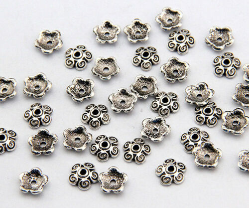 10X3mm Tibetan Silver Bronze Flower Shape Loose Spacer Beads Cap Metal Handmade