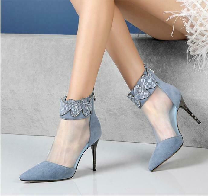Womens Slim High Heel Pointy Toe Rhinestones Rhinestones Rhinestones Mesh Pieced Suede Ankle Boots shoes dd544e