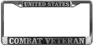 US-COMBAT-VETERAN-HIGH-QUALITY-METAL-LICENSE-PLATE-FRAME-MADE-IN-THE-USA