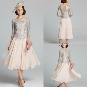 3-4-Sleeve-Lace-Mother-Of-The-Bride-Groom-Dresses-Calf-Length-Chiffon-Guest-Gown