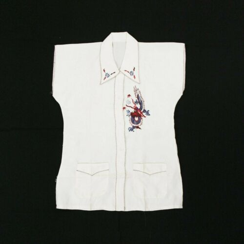 Vintage 1930's Embroidered Dragon Silk Blouse