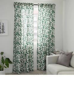 IKEA Cotton Long Curtains 1 Pair White Dark Green 145x250cm Home Kitchen Room UK