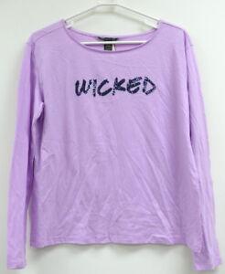 de102d1dff156 NWT Victoria's Secret Sleepwear T Shirt Purple WICKED Bling Top Long ...