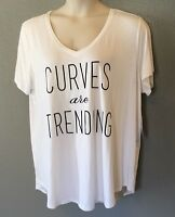 Boutique 2x Top Shirt Womens Plus White curves Are Trending Cap Sleeve