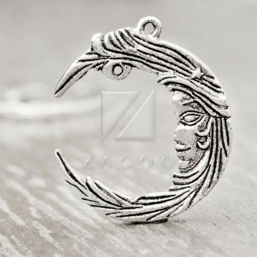 10pcs Pendants Charm Antique Tibetan Silver Supplies Jewellery Moon 38x32x3mm