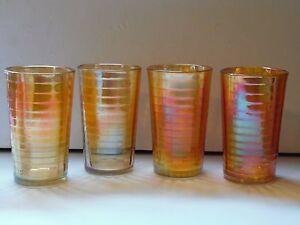 4-Vintage-Jeannette-Marigold-Carnival-Glass-Tumbler-Block-Optic-Banded-Ribs