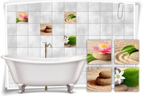 Fliesen-Aufkleber See-Rose Sand Steine Wellness SPA Beige Fliesen Bad WC Deko