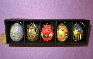 KLIMT-EGG-HAND-PAINTED-Russian-EGGS-Set-5-Christmas-Tree-GOLD-BLACK-design-GIFT
