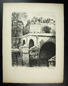 Acheter Pas Cher Gabriel Beunke Le Pont Marie Sur La Seine à Paris Gravure Originale 1947