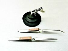 3rd Hand Jewelry Soldering Stand Amp 2 Fiber Grip Tweezers Locking Helping Hand