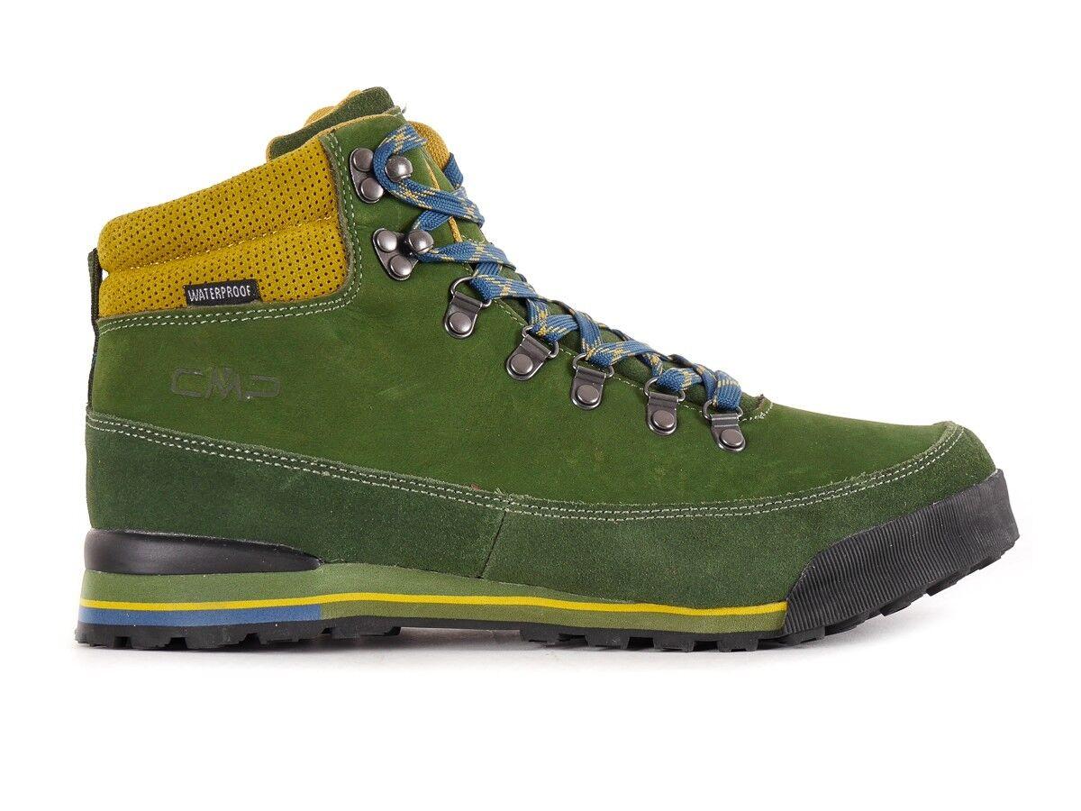 CMP Chaussure de Trekking Marche Heka Vert Cuir Imperméable à Lacets