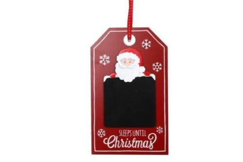 Childrens Red White Santa Sleeps Until Christmas Chalkboard Plaque Hanging Sign