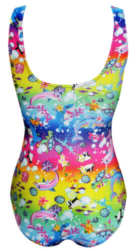 Multi Sea Animals Dolphins Turtles Fish Shark Penguin Floral Swimsuit Bodysuit