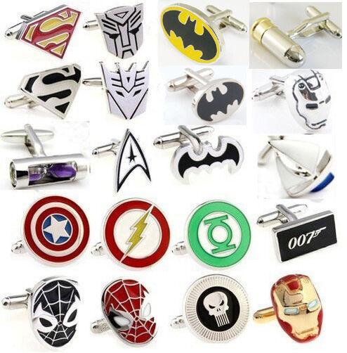 High Quality Square Batman Superman Spiderman Gold Iron Man CuffLinks