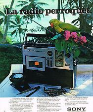 PUBLICITE ADVERTISING 015  1976  SONY   transistor radio LE PERROQUET