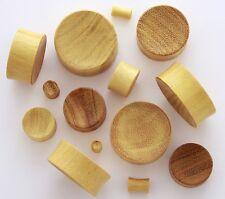 "1 Pair 15/16"" 24mm Yellow Jack Fruit Natural Organic Wood Ear Concave Plugs 897"