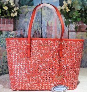 458b3c797308 MICHAEL KORS JET SET TRAVEL LG Carryall FLORAL Print Tote Bag DARK ...