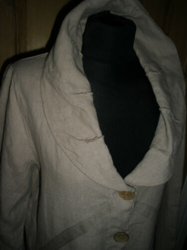 In Italy Lagenlook Medium Detailing Made Jacket Linen Farve Havregryn Large 1OWafqx