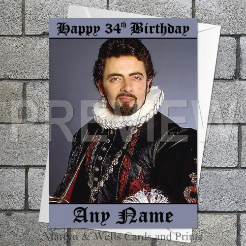 Blackadder personalised birthday card 5x7 inches.