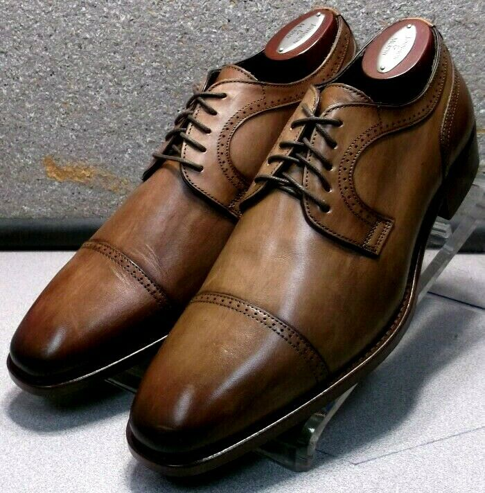242603 MSi60 Chaussures Hommes Taille 8 1 2 M marron en cuir MADE IN ITALY Johnston Murphy