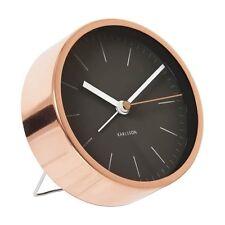 Karlsson MINIMAL ALARM CLOCK COPPER Case BLACK Face SILENT Modern 10cm diam