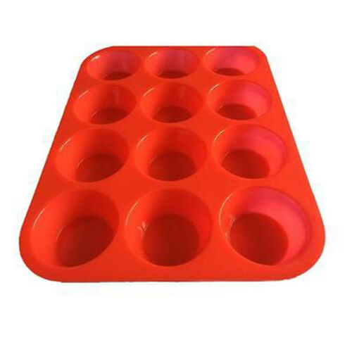 12 Cup Silicone Muffin Cupcake Baking Pan Non Stick Dishwasher Microwave Safe BE