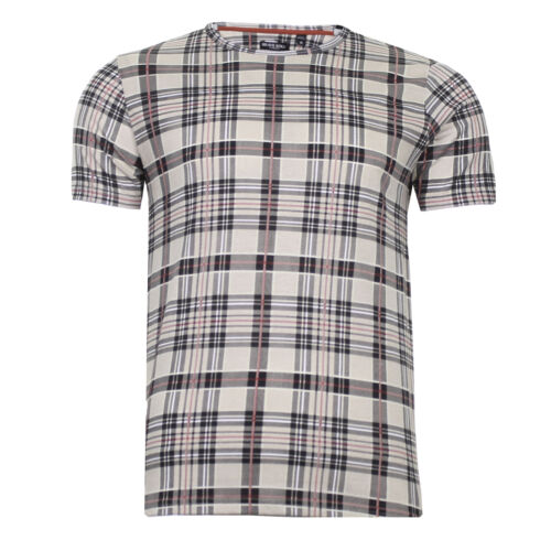 Mens T-shirt All Check Print Design 100/% Cotton Casual Top Brave Soul