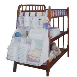 Nursery large baby cot bed diaper clothes hanging storage for Nursery hanging storage