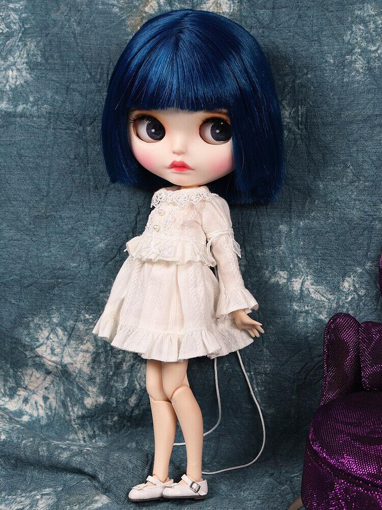 Blythe Desnuda Muñeca de fábrica pelo azul oscuro con ojos para dormir Cejas Maquillaje