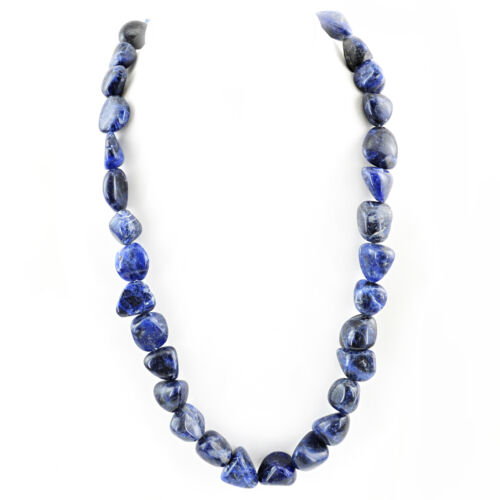 PREMIUM QUALITY 625.00 CTS NATURAL RICH BLUE SODALITE BEADS NECKLACE STRAND