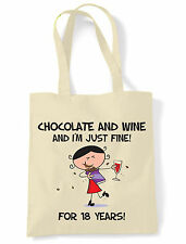 CHOCOLATE & WINE 18TH BIRTHDAY SHOULDER BAG - Gift Present Shopping