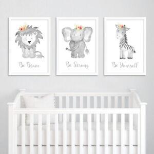 Neutral-Grey-Floral-Boho-Animal-Nursery-Prints-Childrens-Bedroom-Pictures-Decor