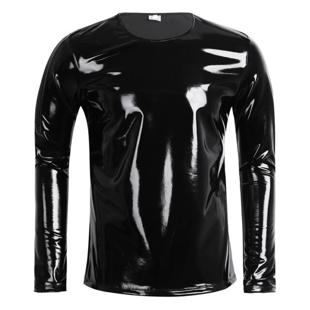 Mens Patent Leather PVC Long Sleeve Zipper T Shirt Top Nightclub Cool Tank Top