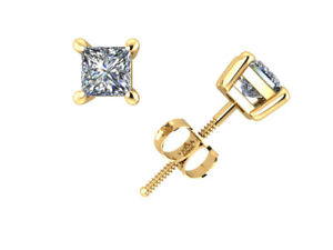 0-40CT-Princess-Cut-Diamond-Basket-Solitaire-Stud-Earrings-14k-Gold-Prong-GH-I1