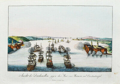 Motiviert C1815 Dardanellen Marmarameer Istanbul Konstantinopel Kolorierter Kupferstich