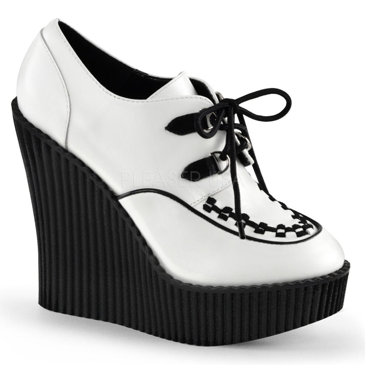 SALE DEMONIA White Black Lace Up Wedge Platform Creeper Women's shoes