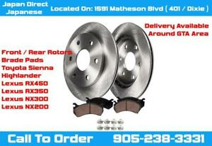 Toyota SIENNA HIGHLANDER Lexus RX450H RX350 NX300 NX200T Brake Pads Rotors Premium Coated Pad Rotor Set City of Toronto Toronto (GTA) Preview