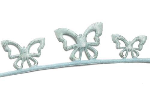 1m//0,60€ SCHLEIFENBAND 5m x 4cm Schmetterling HELLBLAU Motivband BORTE Dekoband