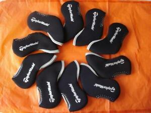 10PCS-Golf-Iron-Headcovers-Windows-for-Taylormade-Club-Head-Covers-Caps-Black